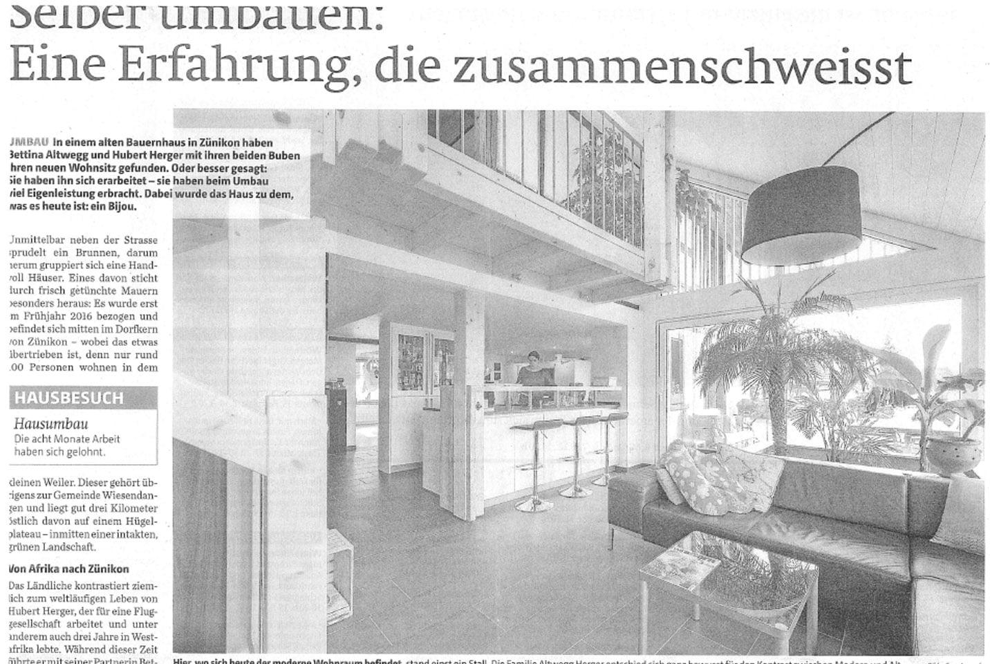 Umbau Bauernhaus in Zünikon